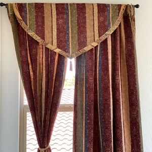 Warm Shimmering Colors Embroidered Floral Curtain